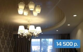 Двухуровневый натяжной потолок в спальню 12 м²