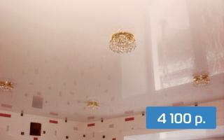 Глянцевый потолок на кухню 6 м²