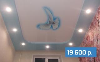 Двухуровневый потолок с фотопечатью в комнату 17 м²