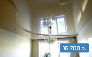 Глянцевый двухуровневый потолок в комнату 17 м²