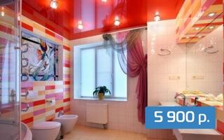 Глянцевый потолок в ванную 7 м²